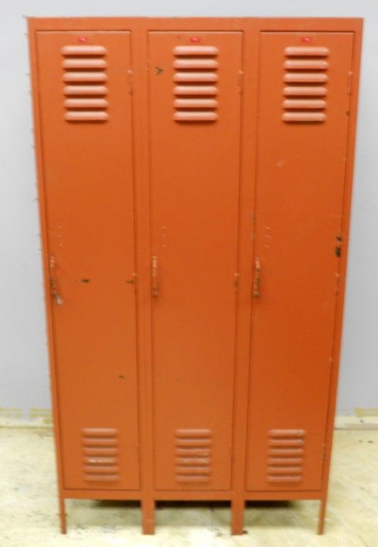 Double Sided Steel Locker Unit In Burnt Orange Paint At 1stdibs
