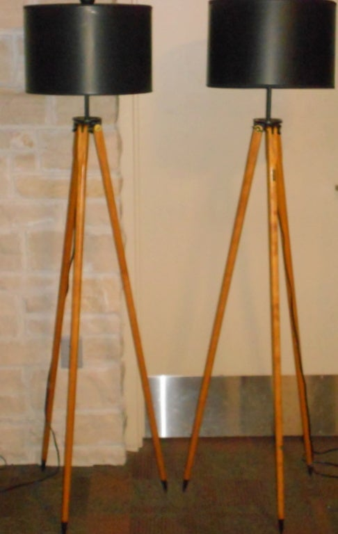 Matched Pair of Vintage Surveyor Tripods as Floor Lamps image 5