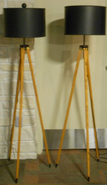 Matched Pair of Vintage Surveyor Tripods as Floor Lamps image 8