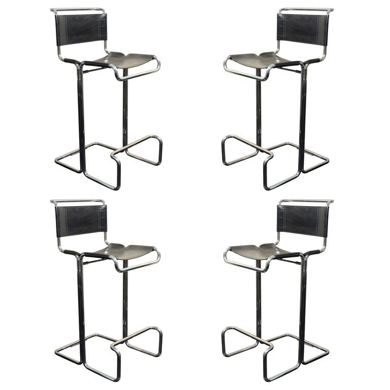 1970 S Stendig Chrome And Leather Bar Stools 4 Italy At
