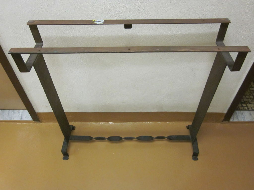 Two French Midcentury 1930 Style Wrought Iron & Stone Consoles For Sale 1