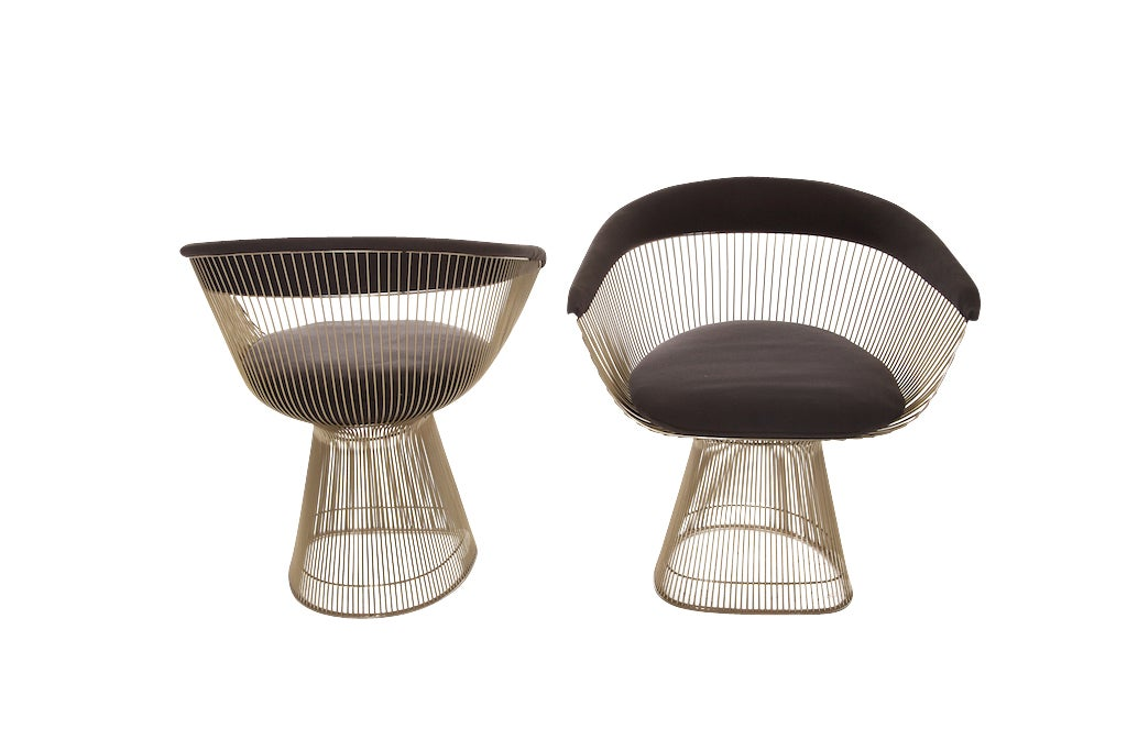 Set Of Four Warren Platner Wire Dining Lounge Chairs At
