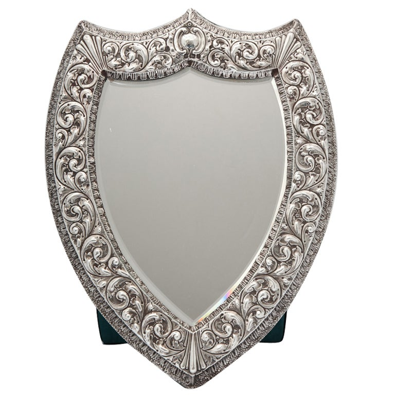 Unusual Large Sterling Silver Victorian Shield-Shaped Table or Vanity Mirror