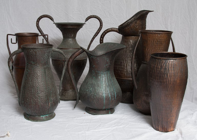 A Set of Seven Italian Arts and Crafts Style Copper Vessels 2