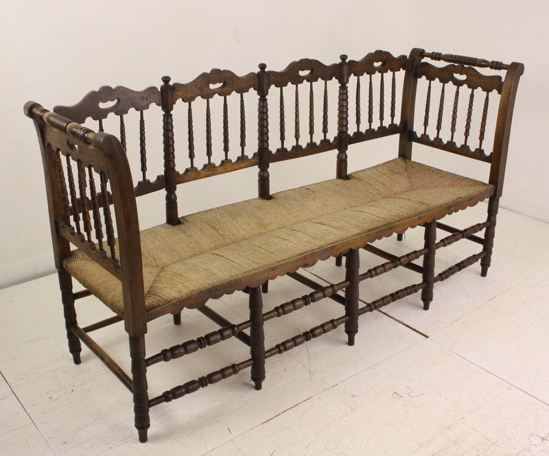 Antique French Rush Seat Spindle Bench At 1stdibs