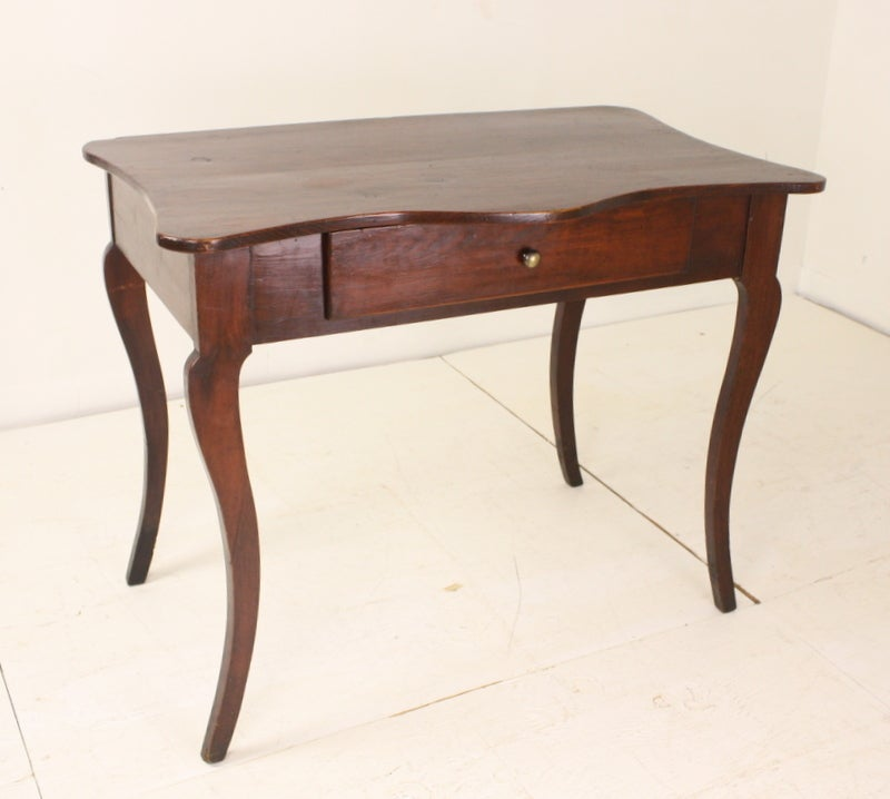Antique French Serpentine-Front Red-Paint Writing Table For Sale 2