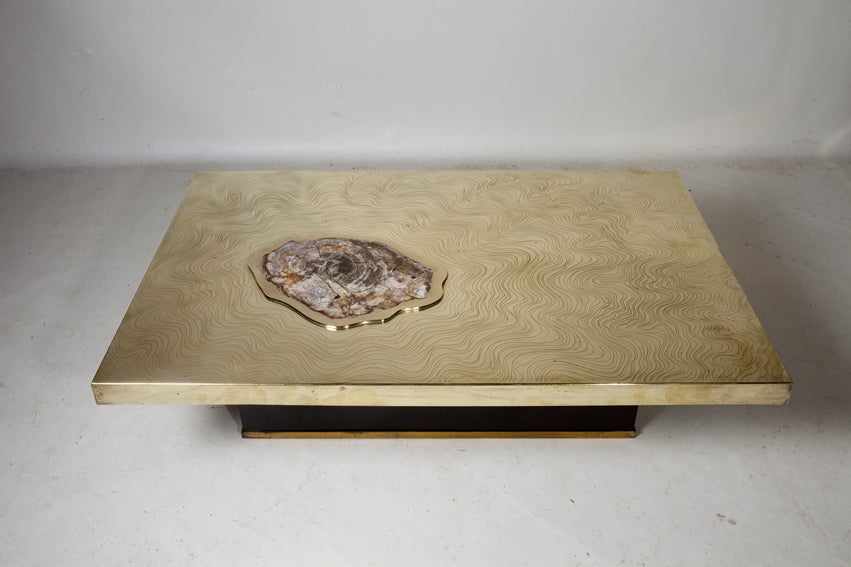 Signed Willy Daro Etched Bronze And Petrified Wood Coffee Table For Sale At 1stdibs