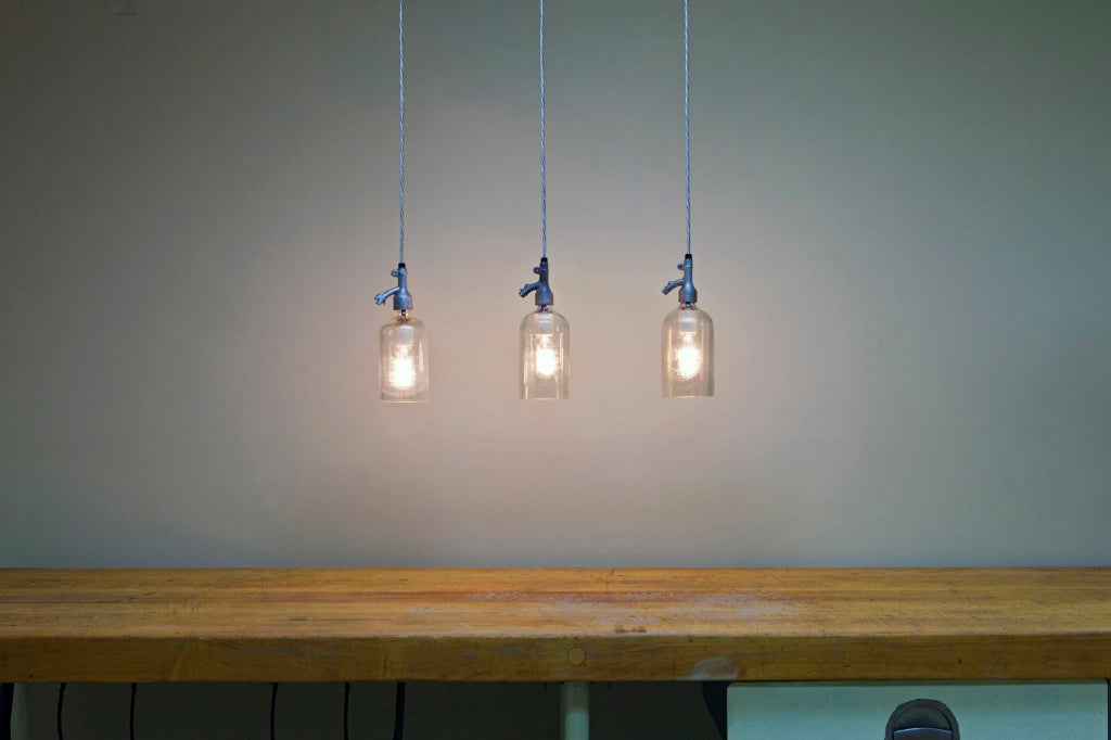 American Etched Glass Seltzer Water Bottle Pendant Lights, Clear Or Blue; Price Per Light For Sale