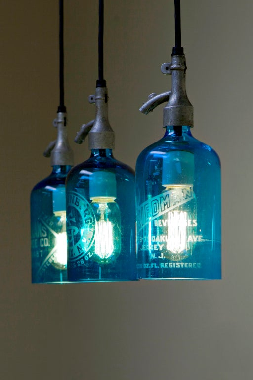 Etched Glass Seltzer Water Bottle Pendant Lights, Clear or Blue at 1stdibs