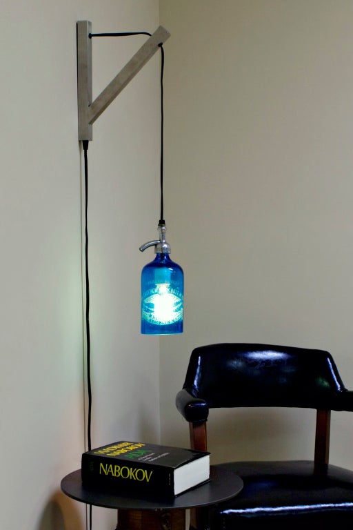 Etched Glass Seltzer Water Bottle Pendant Lights, Clear Or Blue; Price Per Light For Sale 2