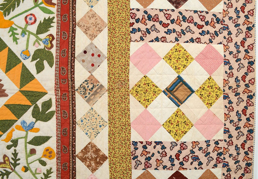 Cotton Center Medallion Quilt with Appliqued Basket of Flowers For Sale