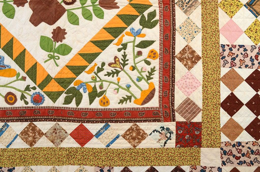 Center Medallion Quilt with Appliqued Basket of Flowers For Sale 1