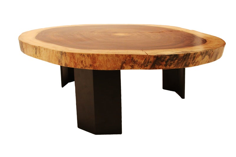 Custom Caro Caro Coffee Table And Angular Metal Base By Thomas Hayes Studio At 1stdibs