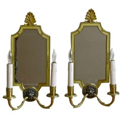 Pair of French Brass Mirrored Lion Wall Sconces