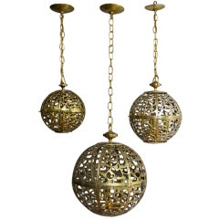 Trio of Pierced Brass Asian Ceiling Pendants in Various Sizes