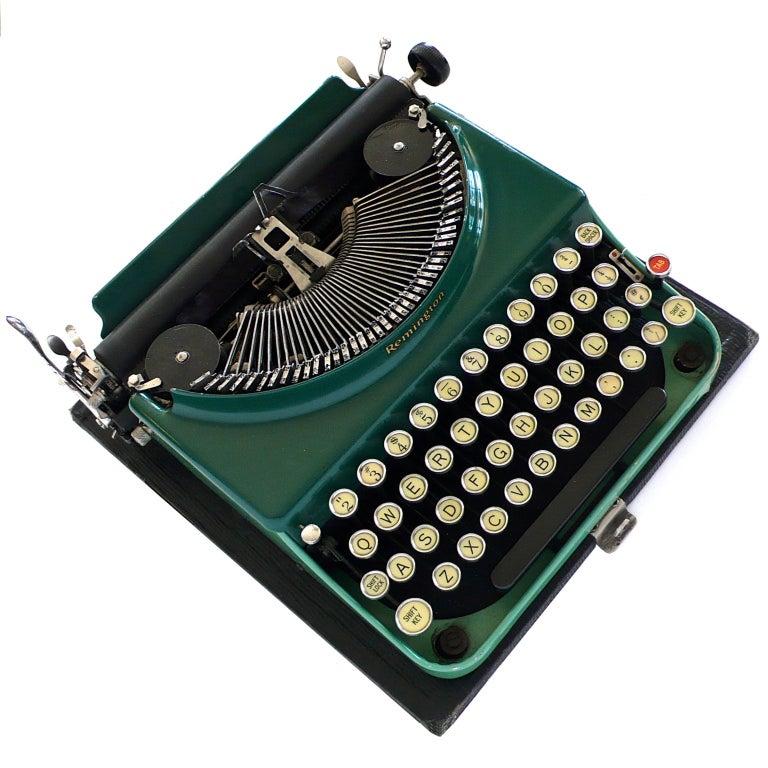 Fantastic Art Deco Original 1927 Green Remington Typewriter 6