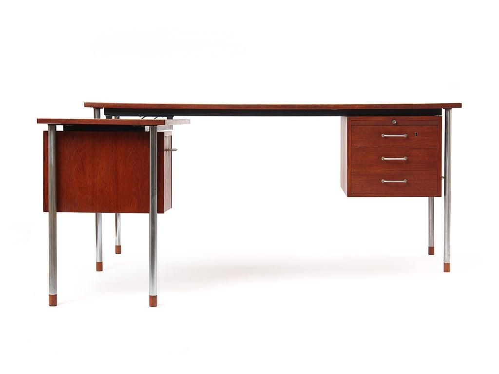 Scandinavian Modern Teak and Steel Desk by Larsen and Madsen For Sale