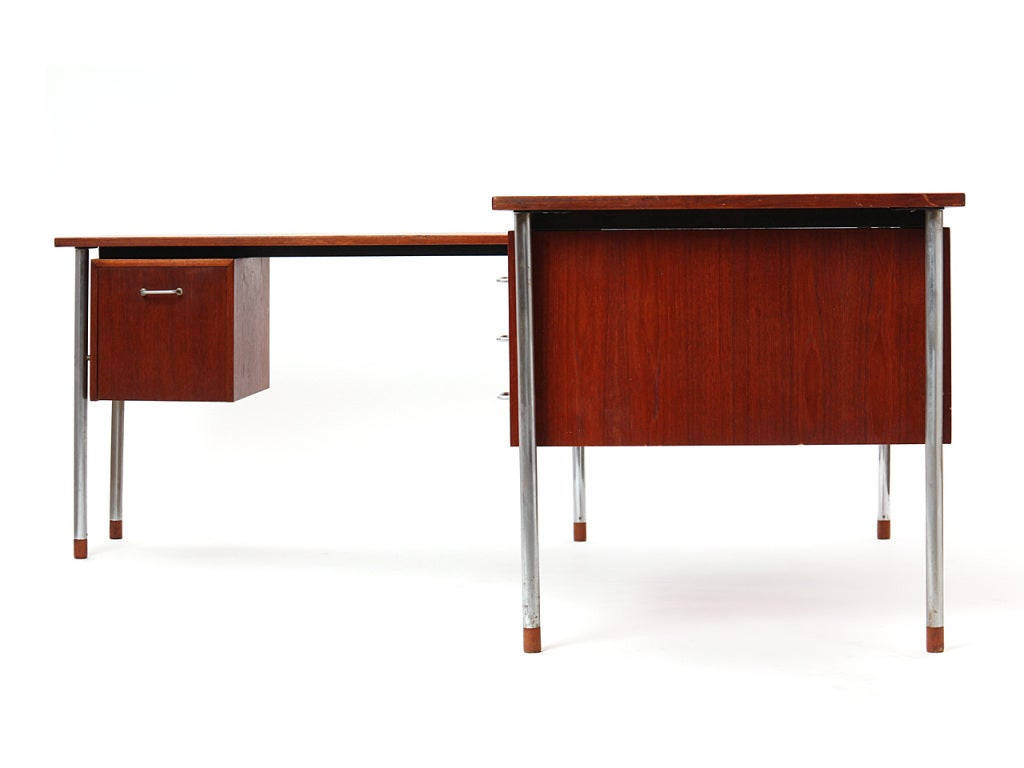 Mid-20th Century Teak and Steel Desk by Larsen and Madsen For Sale
