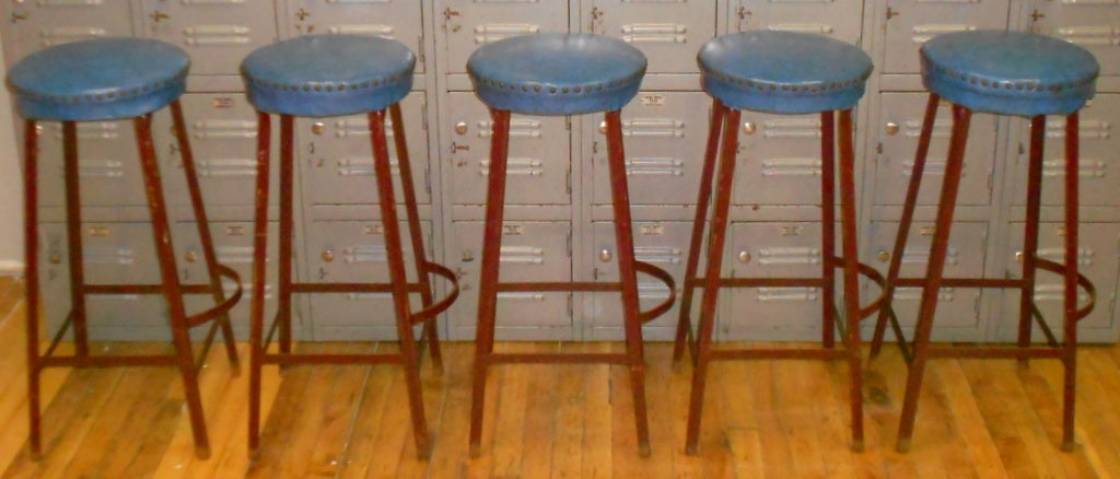 Set Of Five Factory Counter Stools At 1stdibs