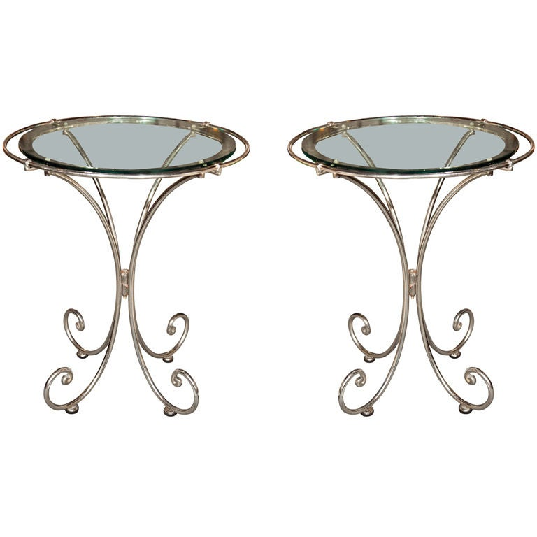 Pair Of Glass Top Metal End Tables 1