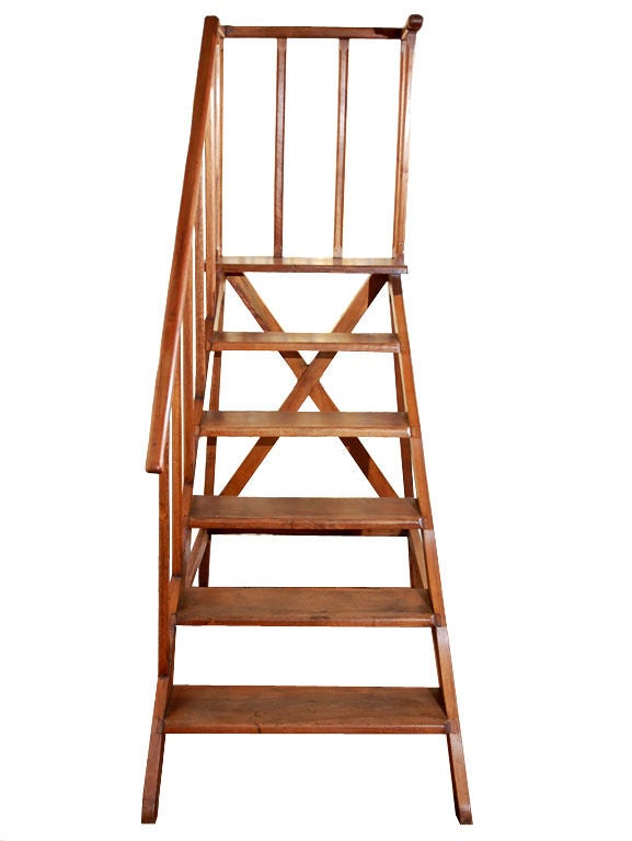 Late 19th Century Mahogany Library Ladder 2