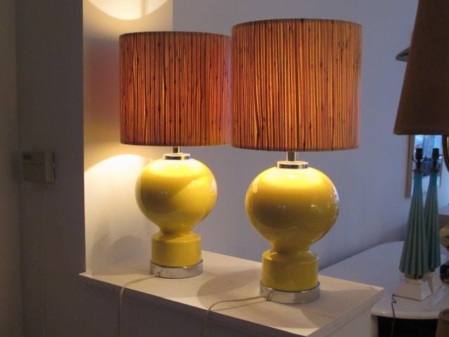 A Great Pair of Ceramic Lamps For Sale 1
