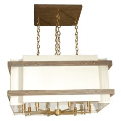 Paul Marra Shaded Scalloped Chandelier with Metal Armature & Wood Banding