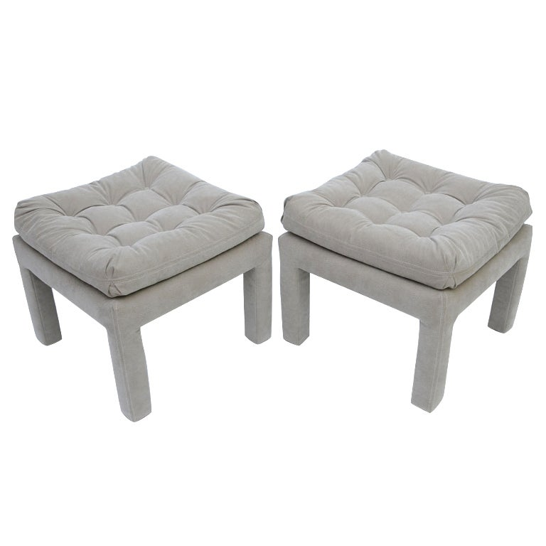 PAIR Large Milo Baughman Tufted Parsons Benches 1