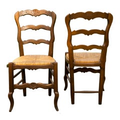 Set of Six Custom-Made French Oak Rush Seat Side Chairs
