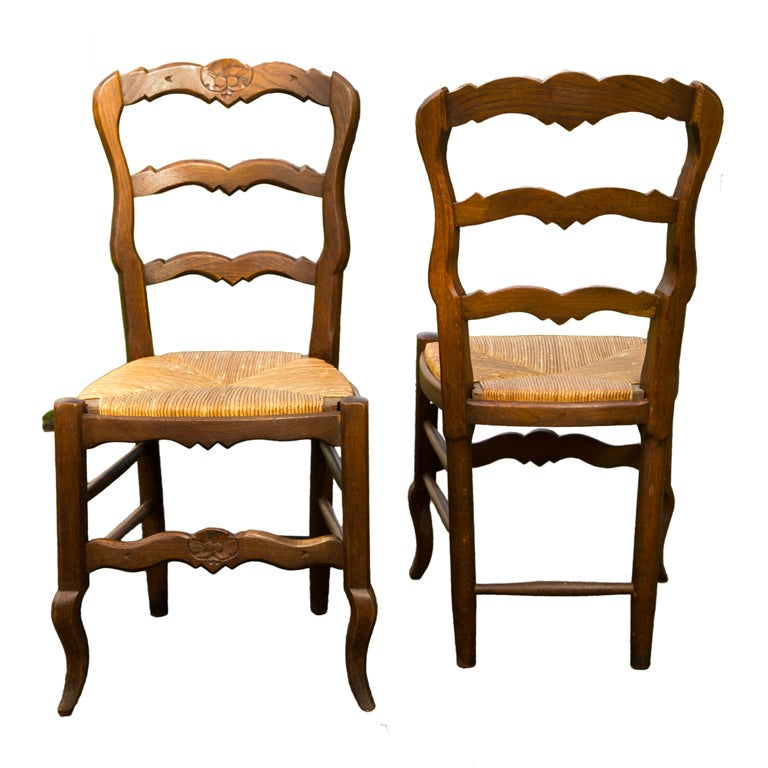 Set of Six French Oak Rush Seat Side Chairs
