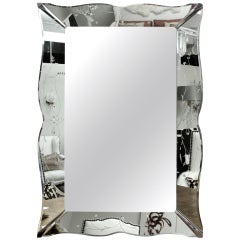 "Gorgeous Large Art Deco Etched Mirror (60"" x 40"")"