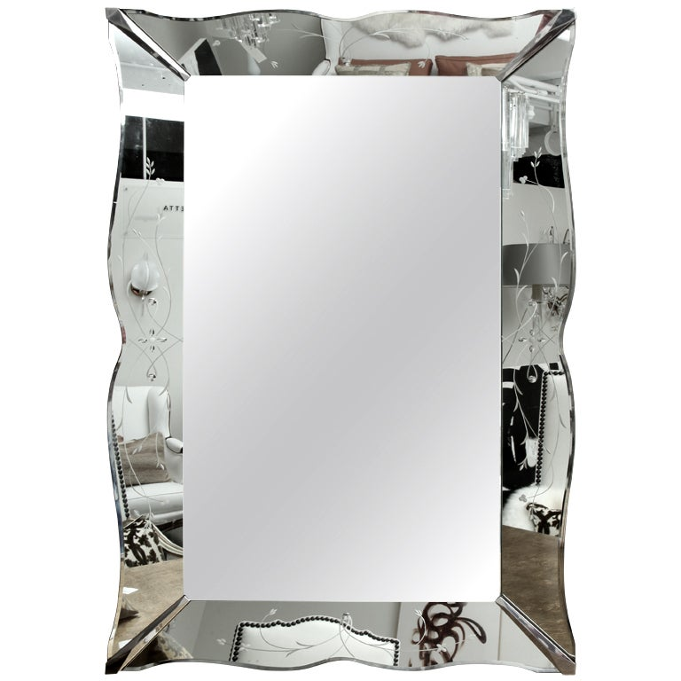 Gorgeous large art deco etched mirror at 1stdibs for Mirror 40 x 60