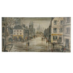 """Arthur Delaney oil on panel painting """"street in Montmartre"""", England circa 1930"""