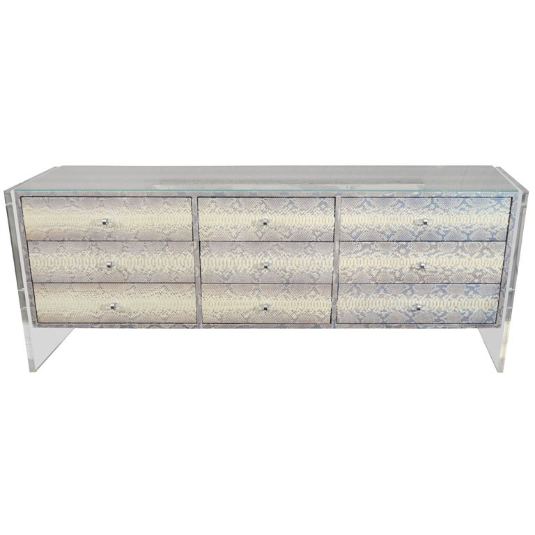 Custom Python Nine-Drawer Dresser with Lucite Side Panels For Sale