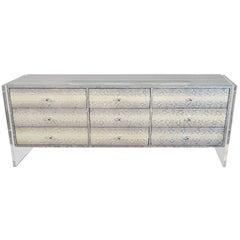Custom 9-Drawer Python Dresser with Lucite Side Panels