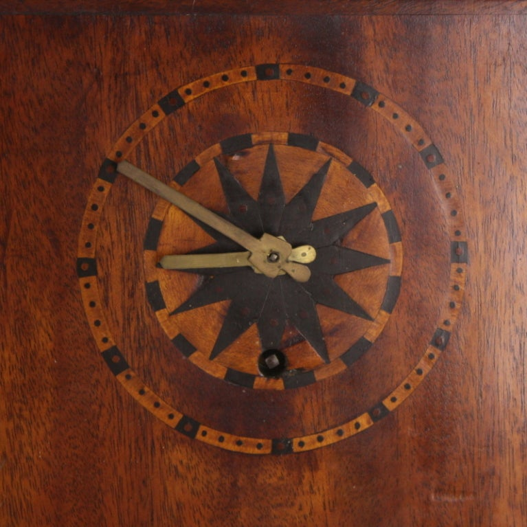 English Marquetry Inlaid Art Deco Mahogany Clock For Sale