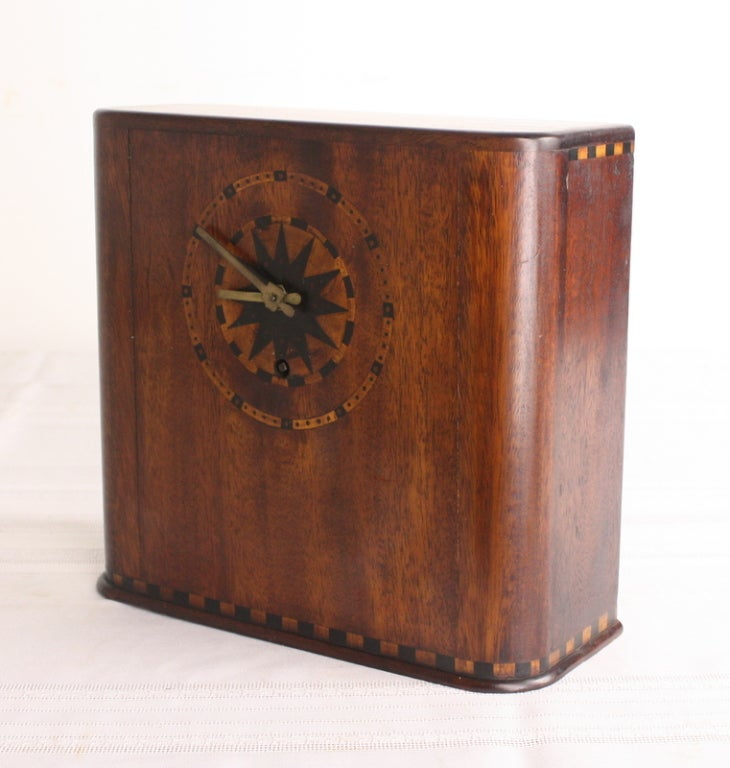 Marquetry Inlaid Art Deco Mahogany Clock For Sale 2