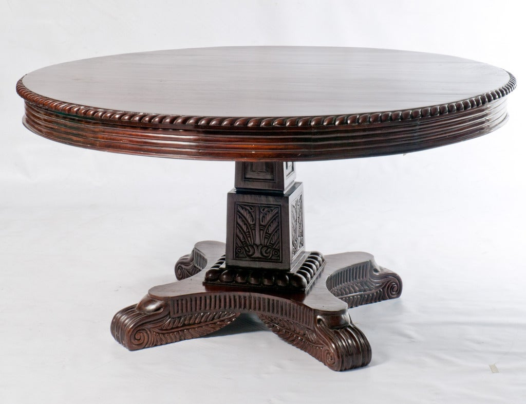 Anglo indian rosewood round center table with pedestal for Cuir center table basse