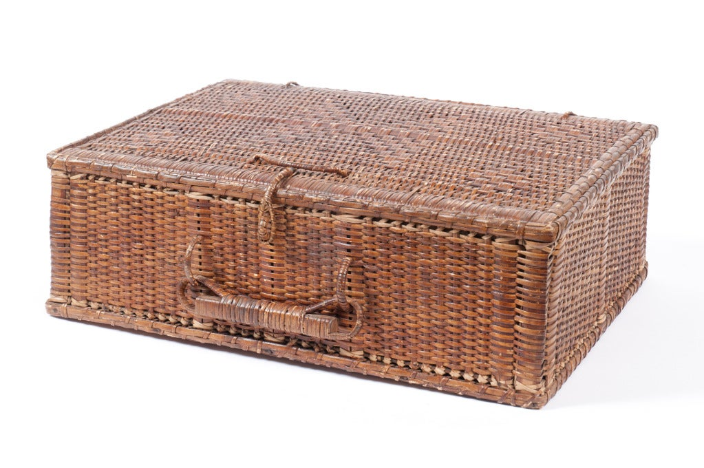 Rectangular Wicker Baskets With Handles : Rectangular rattan basket with handle at stdibs