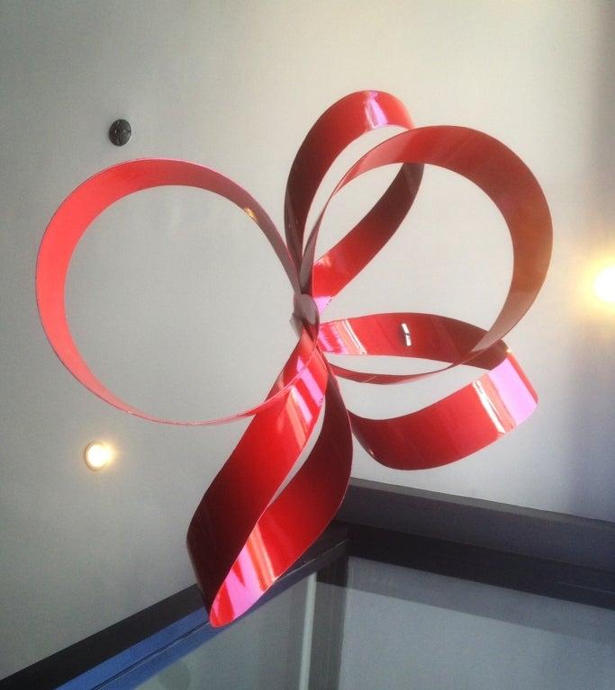 One of a Kind Red Ribbon Sculpture by Paul Chilkov 2
