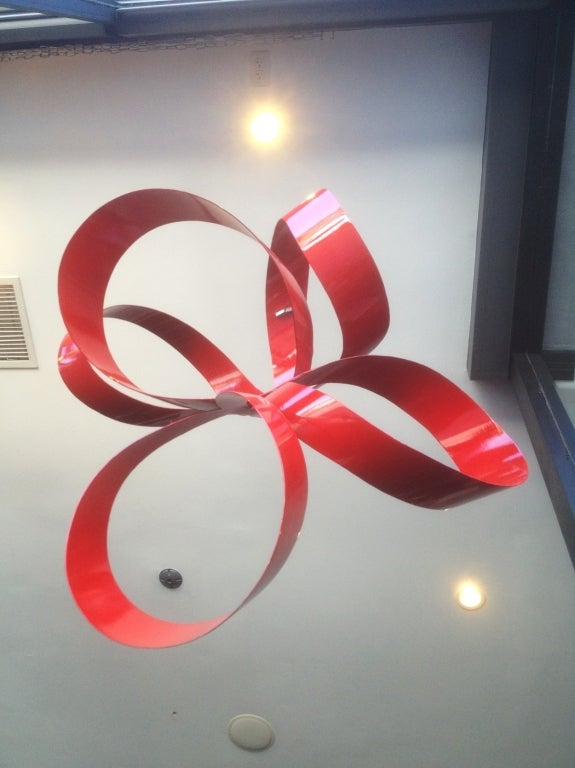 One of a Kind Red Ribbon Sculpture by Paul Chilkov 3