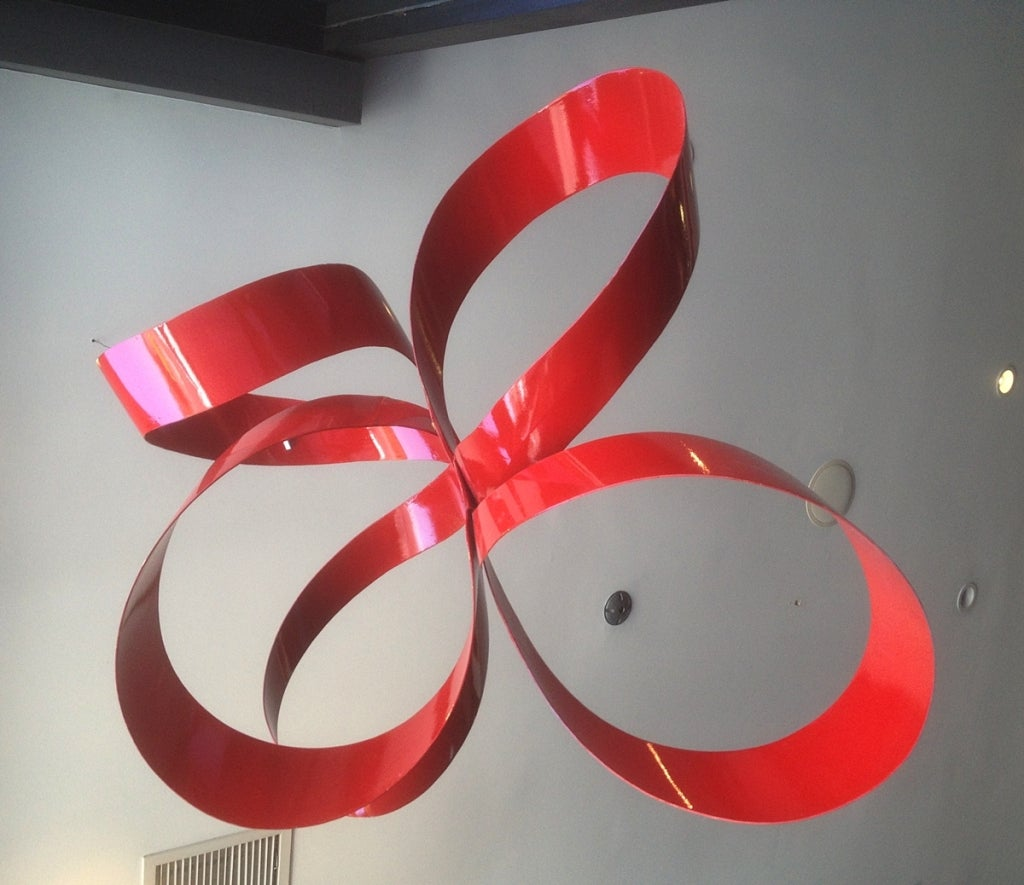 One of a Kind Red Ribbon Sculpture by Paul Chilkov 4