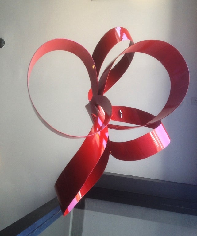 One of a Kind Red Ribbon Sculpture by Paul Chilkov 5