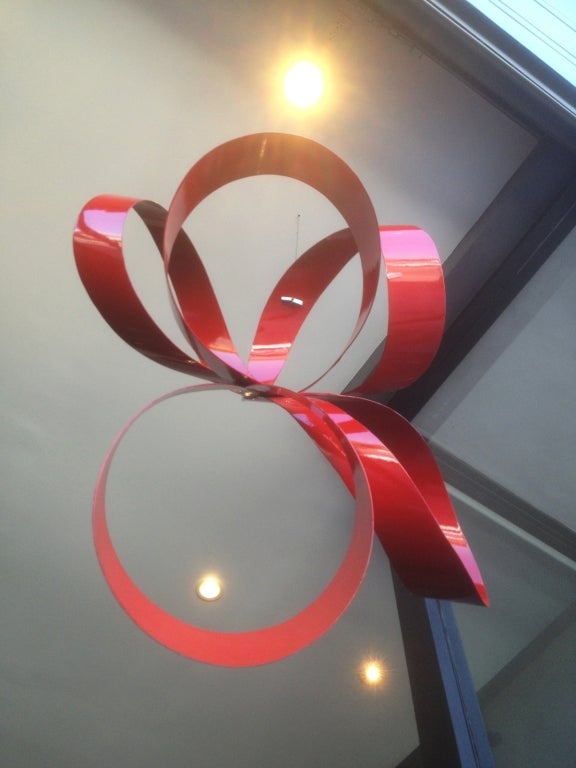 One of a Kind Red Ribbon Sculpture by Paul Chilkov 6