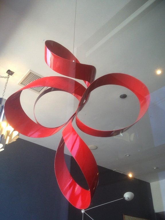 One of a Kind Red Ribbon Sculpture by Paul Chilkov 7