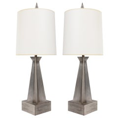 Pair of Sculptural Silver Leaf Lamps