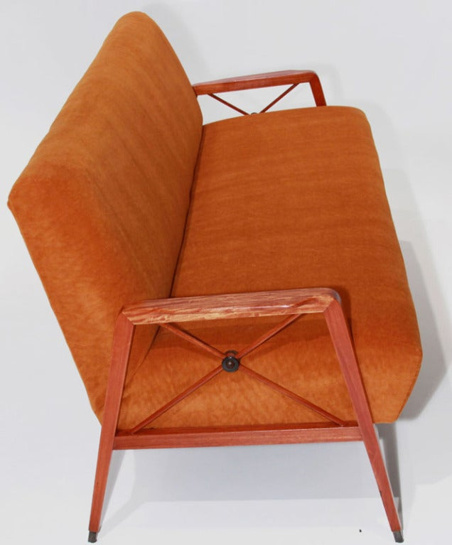 Brazilian Tangerine Mohair and Exotic Wood Sofa by Cavallaro For Sale