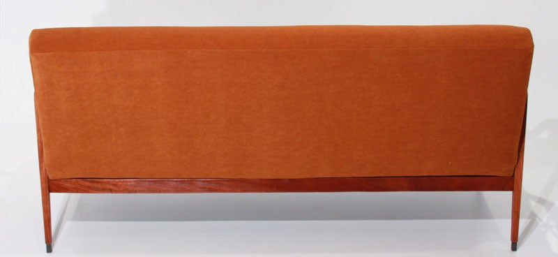 Mid-20th Century Tangerine Mohair and Exotic Wood Sofa by Cavallaro For Sale
