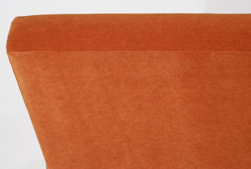Tangerine Mohair and Exotic Wood Sofa by Cavallaro For Sale 4
