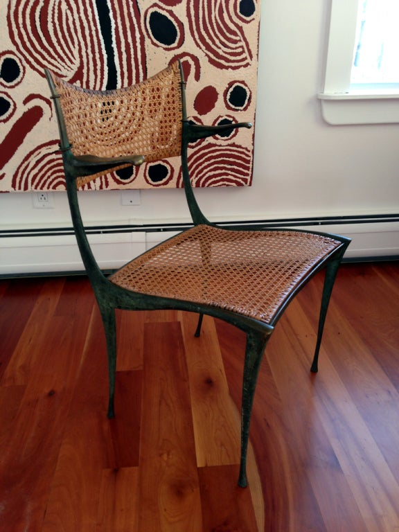 Pair of bronze Gazelle chairs Dan Johnson In Good Condition For Sale In North Miami, FL